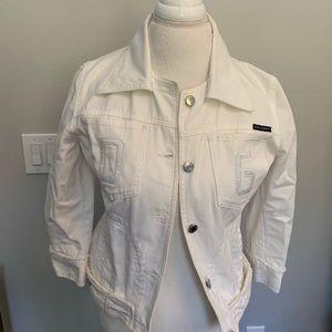 Dolce + Gabbana White Crop Jean Jacket